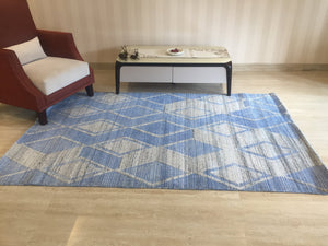Gift Hand Knotted Turkish Rug, Handmade Living Room Decor, rustic Home Décor Rugs, Christmas blue Area Rug free shipping 4'11' x 8' A8