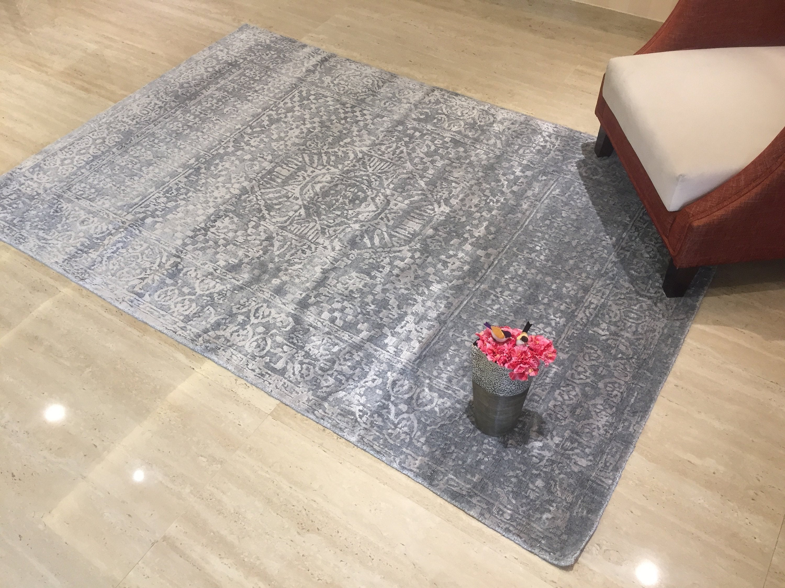 "Living room Geometric Design carpet Persian Hand knotted Housewarming Rug,gray Area Rug  Home Decor Wool Rug, 5'3"" X 7'6"" JK1320"