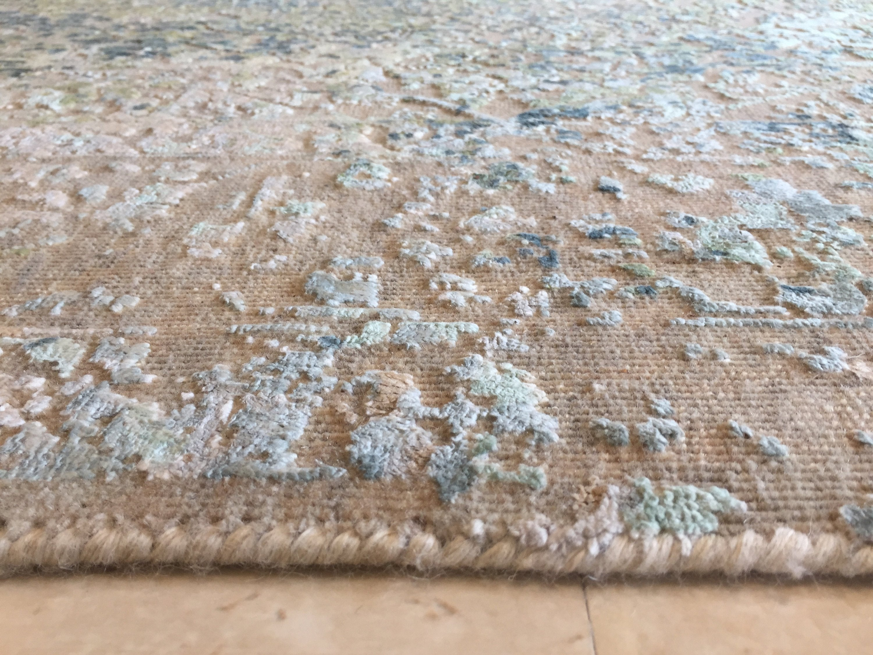 "5'7"" X 7'11"" Wool Hand knotted Geometric Rug, Rustic green Area Rug Distressed Faded Tribal Persian Vintage looking Home Decor Rug,  R7609"