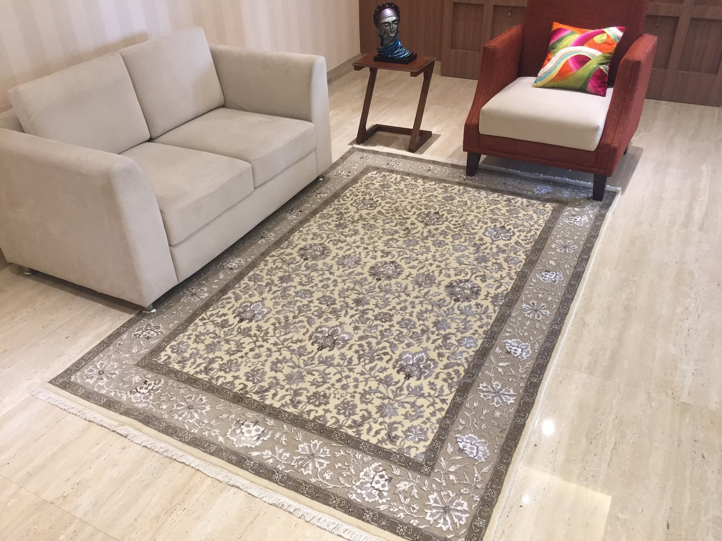 "Persian Rugs Beige Brown Geometric and floral Traditional , Oriental Rug, Distressed Rug, Living Room Rug,  faded carpet, 5'4"" X 7'8"" R8507"