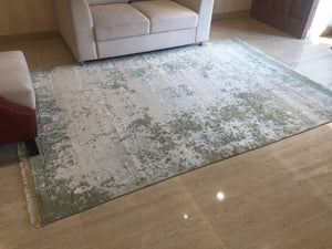 "5'7"" X 7'11"" Distressed Faded Tribal Persian Vintage looking Home Decor Rug, Wool Hand knotted Geometric Rug, Rustic green Area Rug R992"