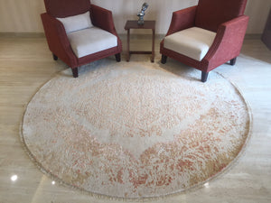 "7'10"" Round Distressed Faded Tribal Persian Vintage looking Home Decor Rug, Wool Hand knotted floral Rug, Rustic gold Area Rug  R7447"