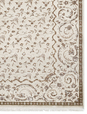 "Persian Rugs Beige Brown Geometric and floral Traditional , Oriental Rug, Distressed Rug, Living Room Rug,  faded carpet, 5'4"" X 7'8"" R8374"