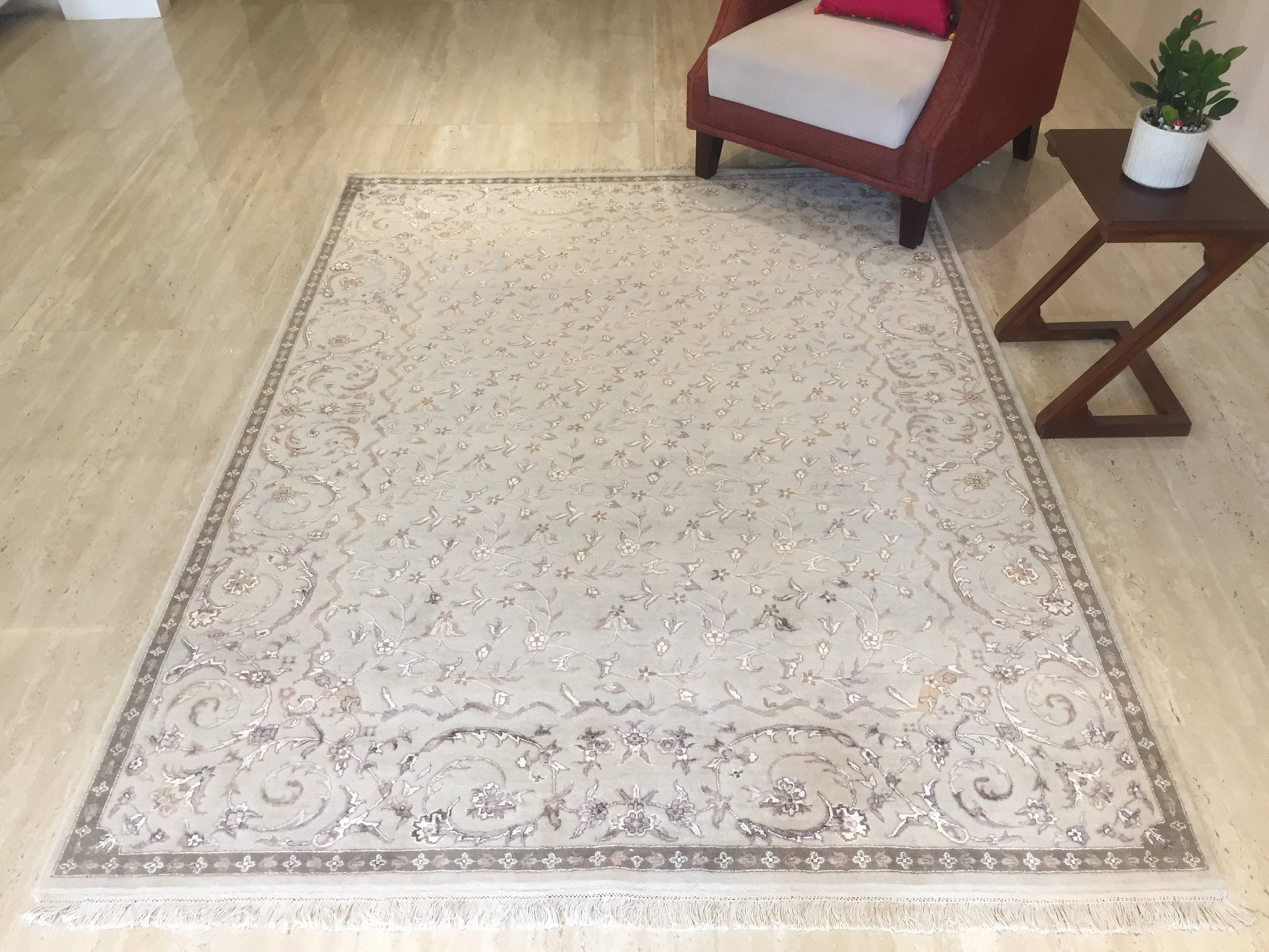 Persian Rugs Beige Brown Geometric And Floral Traditional