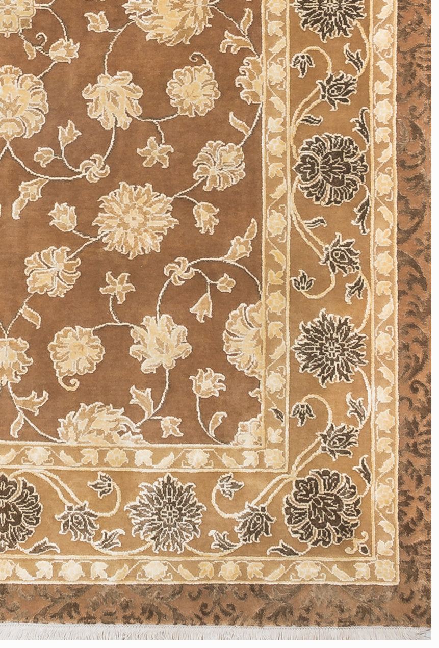 "Oriental Rugs Beige Brown Geometric and floral Traditional Persian Rugs, Distressed Rug, Living Room Rug,  faded carpet, 5'4"" X 7'8"" R9077"