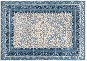 "5'6"" X 7'11"" Blue Geometric and floral Traditional Persian Rug, Oriental Rug, Distressed Rug, Living Room Rug, Blue Rug, faded Rug, R2512"