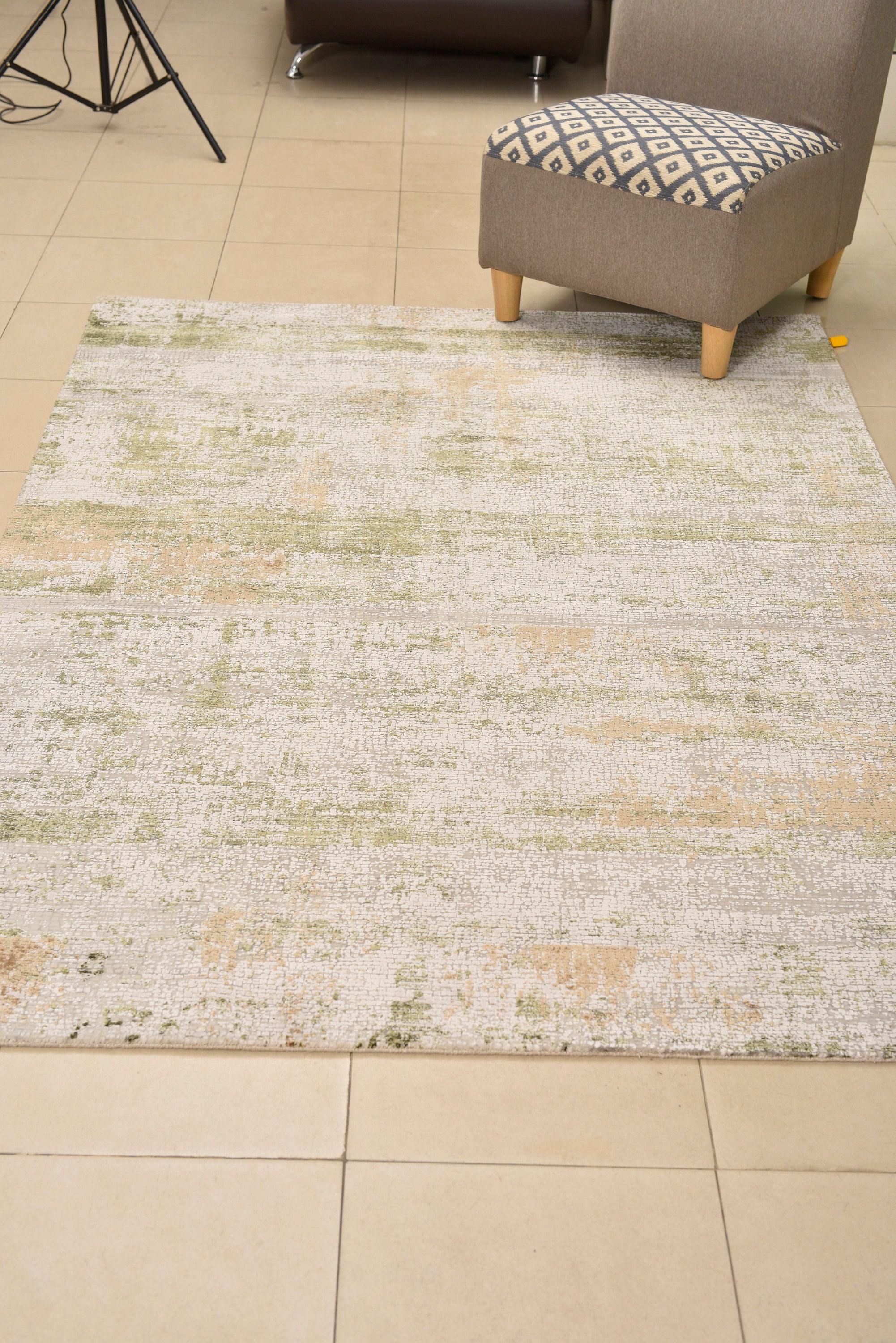 "Rug Farmhouse Vintage looking green, Oriental Kitchen Tribal Rug, Hand knotted Geometric Home Rug Wool , teppich area rug 5'3"" x 7'6"" ,1868"