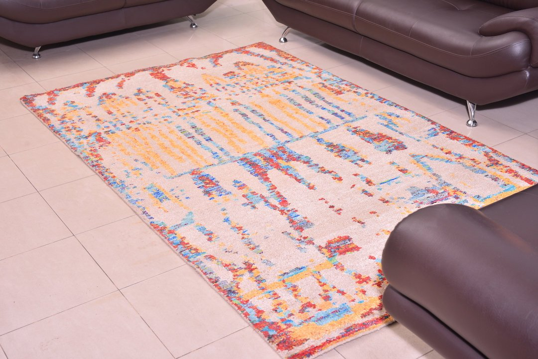 "Colorful Rainbow Rug Oriental Hand knot Geometric, Living Room Vintage Decor Rug, Antique Persian Decor Kitchen Tribal  Rug, 5' x 8'1"" ,859"