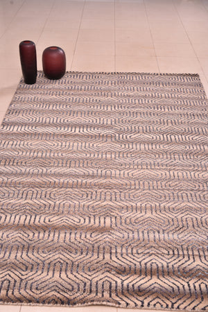 "Hand Knotted Geometric Scandinavian Area Rug Oriental, brown carpet ,Living Room modern Decor Rug, Kitchen Tribal Rug, 4'9"" x 6'6""   1559"