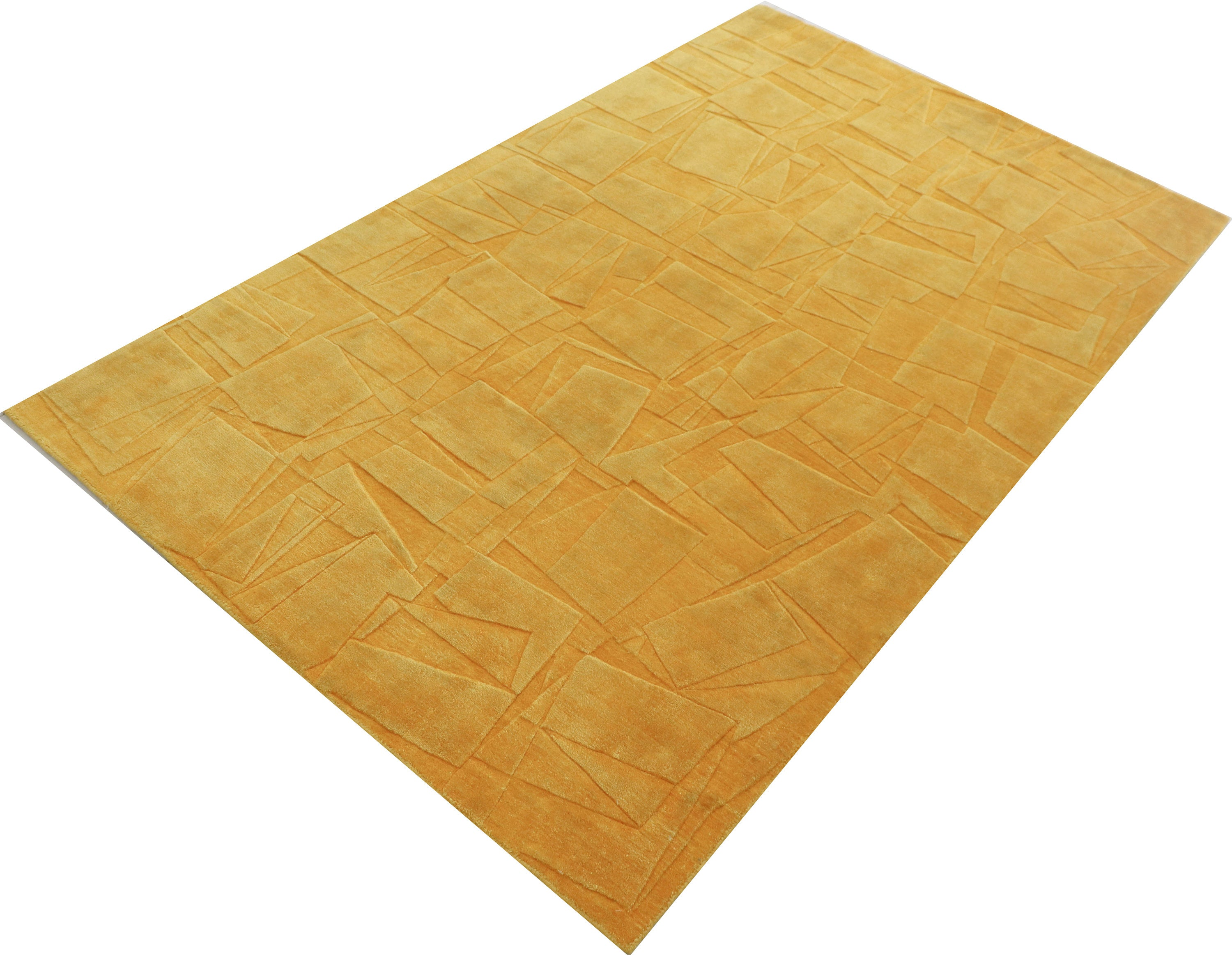 "Mustard Silk Area Rug Hand Knotted Kitchen Handmade Rug,5'3""X7'7""  Modern Turkish Rug,Bamboo Silk Area Rug,Moroccan Living Room Rug DN60797"