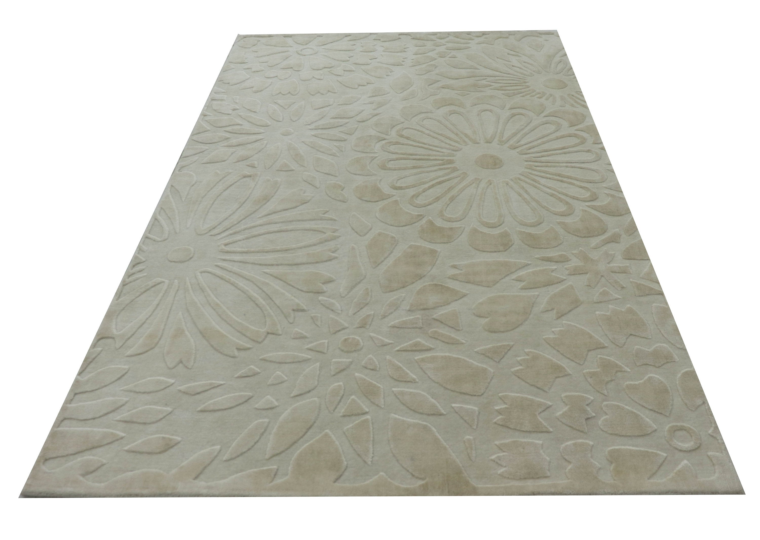 "Hand Knotted Floral Beige Silk Area Rug, Kitchen Handmade Rug,5'3""X7'7"",Modern Turkish Rug,Bamboo Silk living room Area Rug DN60802"
