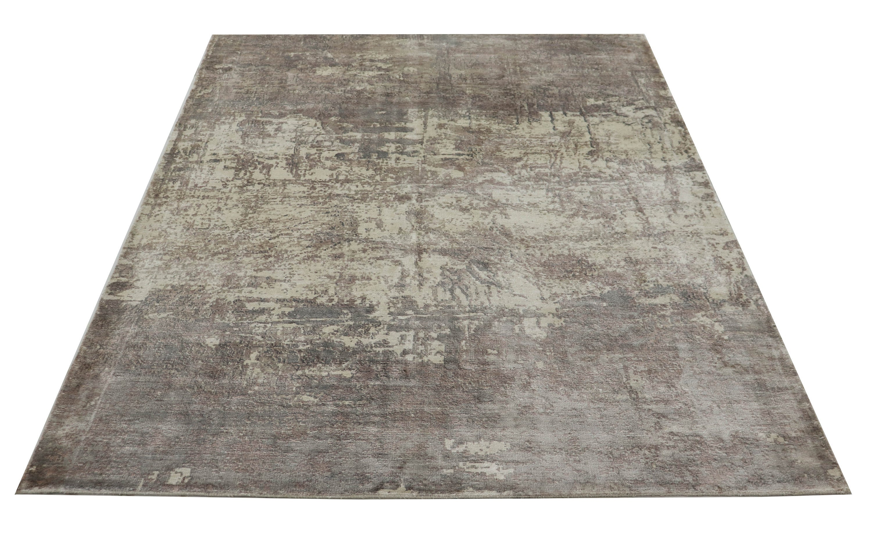 "Handwoven Faded Modern Silk Area Rug ≡ Vintage like Turkish Faded Muted color Carpet ≡ Antique Tribal Area Rug 5'3"" X 7'7"" Gray Rug  D2752"