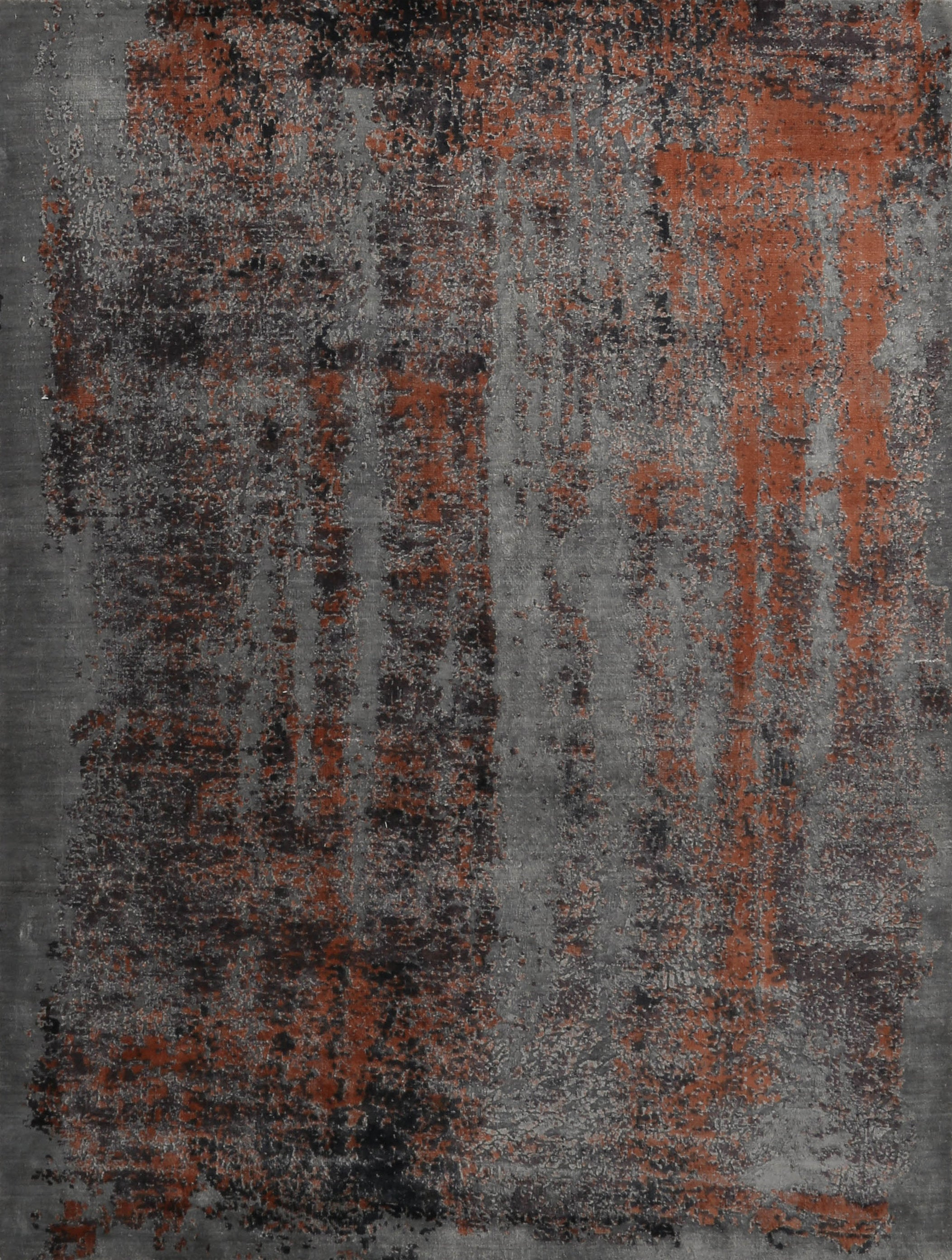 Rustic Bronze Silk Rug Hand Knot Dyed Turkish Rug≡Turkish Tribal Rug Home Decor Vintage Carpet Living Room≡ Antique Gray Area Rug DN60876