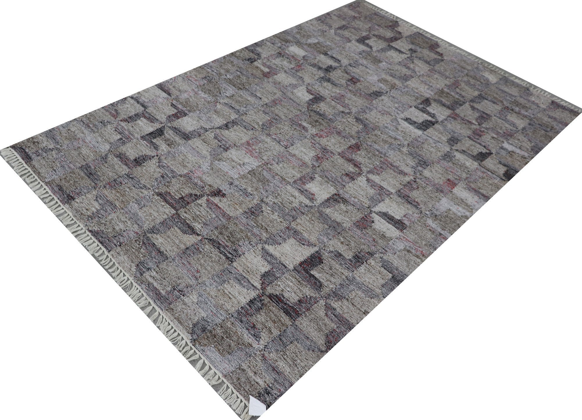 "4'11"" x 7'11"" Handmade Gray Geometric Turkish Kilim Rug , Oriental Turkish Carpet Made from Recycled PET Wool , Kitchen Office Rug   16925"