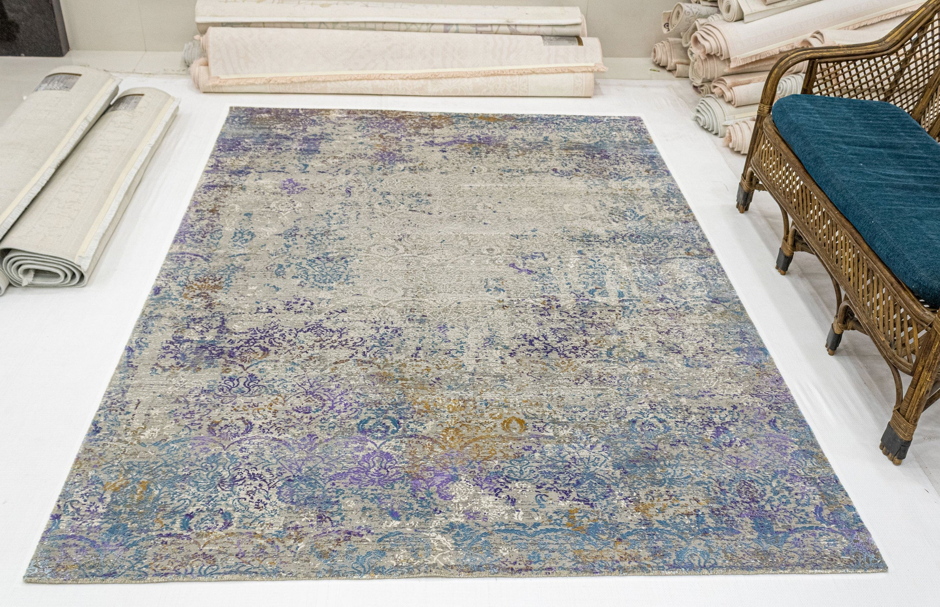 Rustic Geometric Turkish Overdyed Faded Azure Area Rug, Rustic Home Decor Rug,Oriental Living Room Rug, Hand crafted Floral Rug  SKU:1942