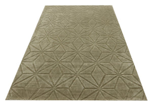 "Hand Knotted Silk Area Rug,Olive Green Kitchen Handmade Rug,5'3""X7'7""  Modern Turkish Rug,Bamboo Silk living room Area Rug , Room Deco DN10"