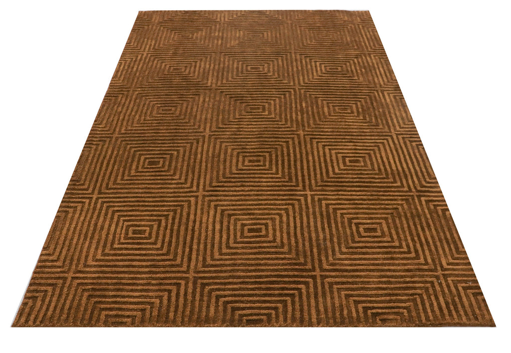 5 X 8 Brown Large Modern Rug Living Room Turkish Carpet, Rug and Carpet Oriental Silk Persian Boho Hand Knot Rug  DN60801