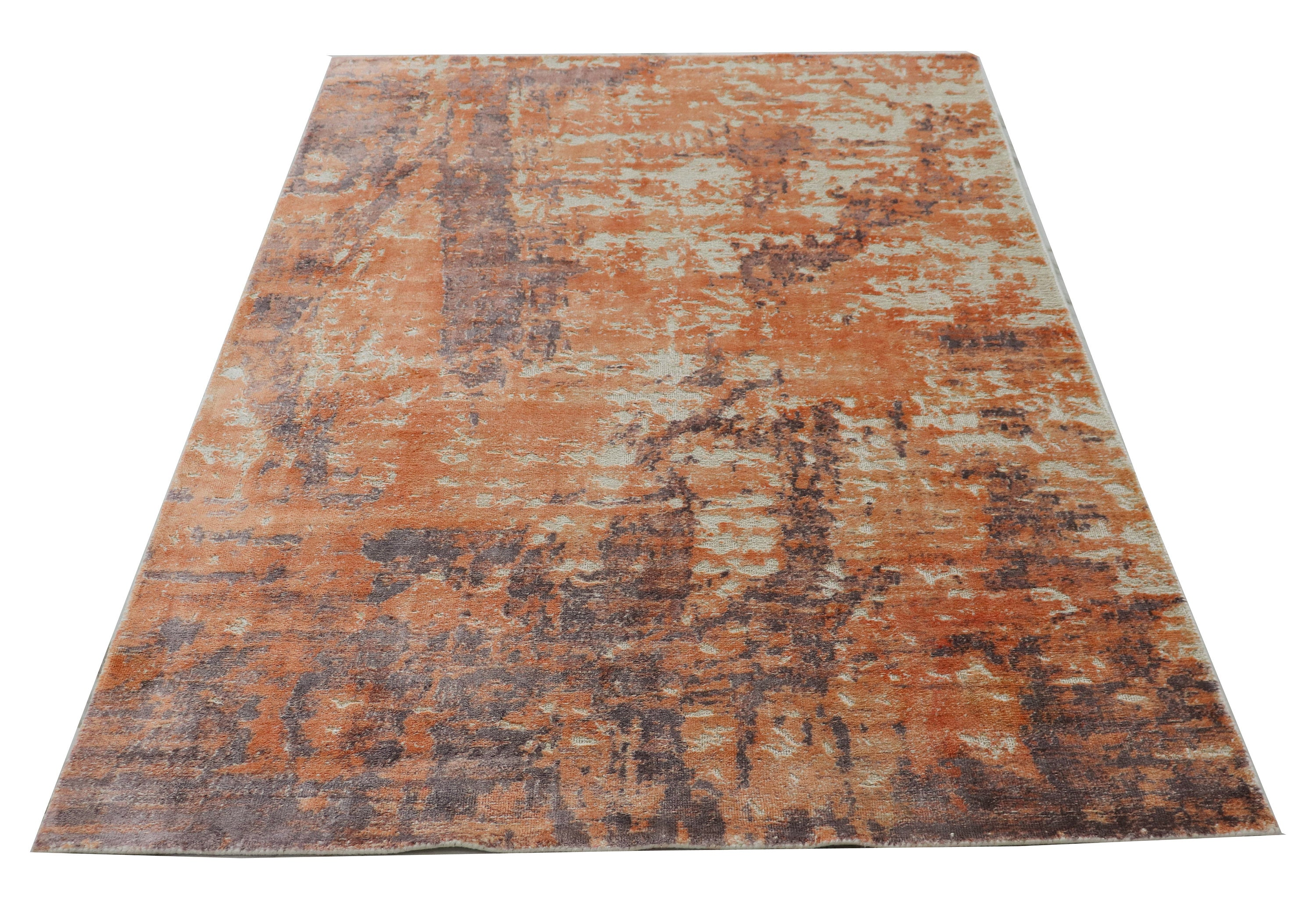 Unique Modern Handmade New Bronze Indian Area rug≡ 5x7 Living Room Rug ≡Distressed Area Rug≡ Oriental Silk Rugs≡ Modern Orange  Rug DN2749
