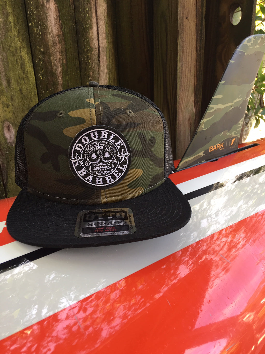 Double Barrel Classic Trucker Snapback Hat CAMO/BLACK