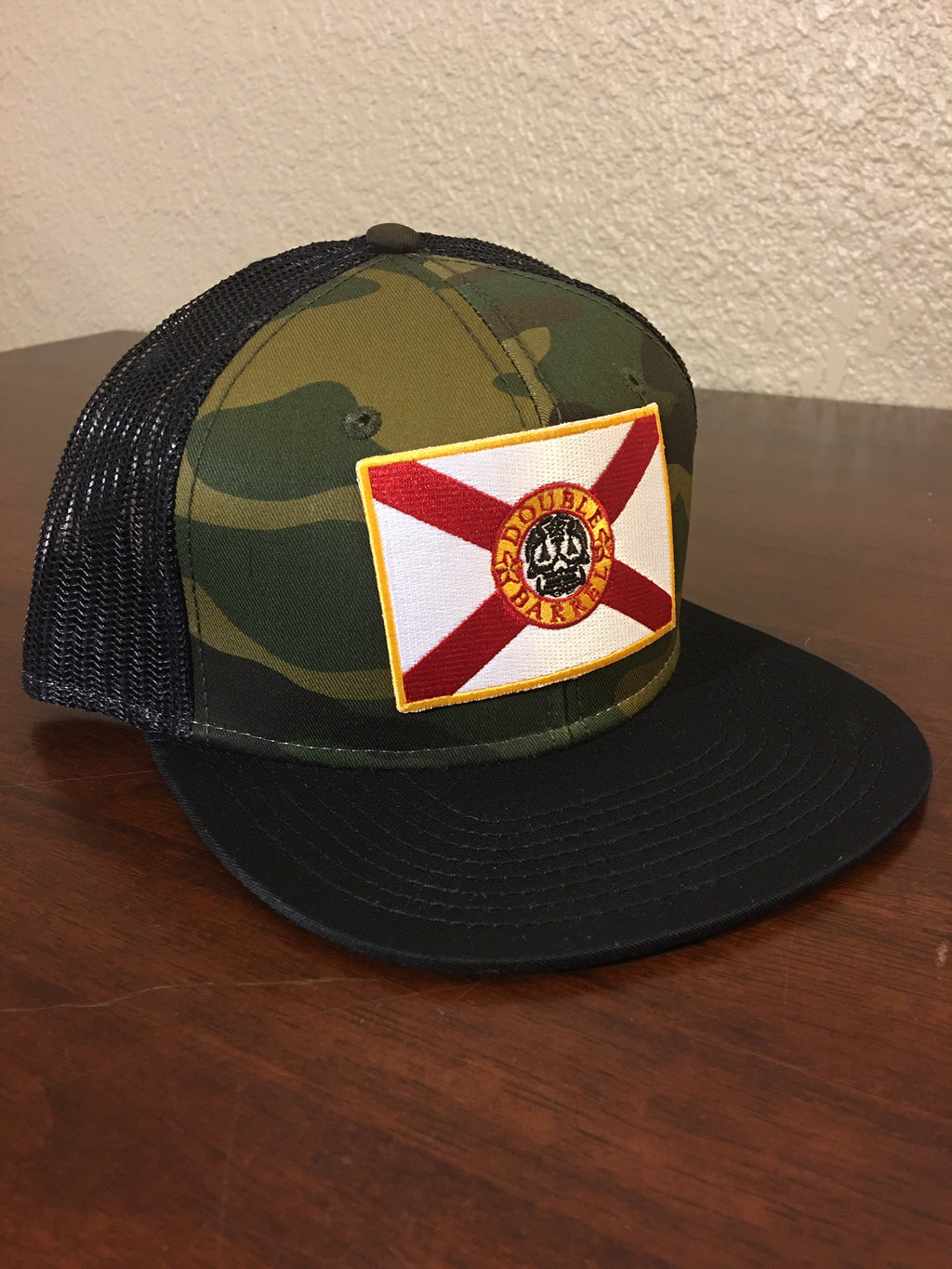 Double Barrel FL Flag Snapback Hat CAMO/BLACK