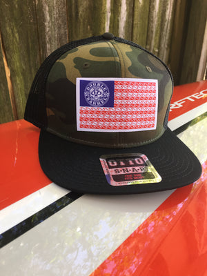 Double Barrel American Flag Flatbill Snapback Hat CAMO/BLACK