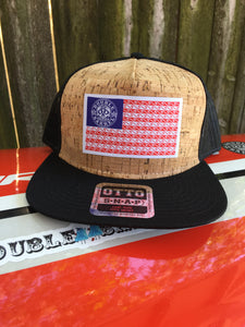Double Barrel American Flag Flatbill Snapback Hat CORK/BLACK