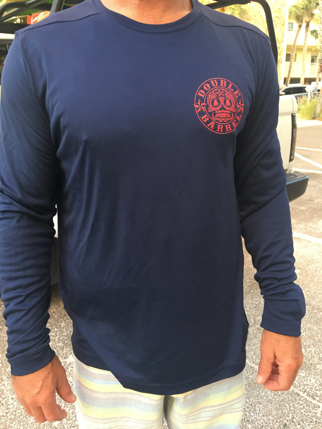 Mens DB Performance Shirt~ Navy Blue/Red Ink