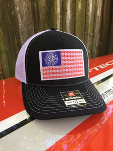 Double Barrel American Flag Snapback Hat BLACK/WHITE