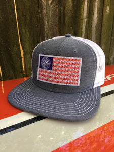 Double Barrel American Flag Flatbill Snapback Hat CHAMBRAY/WHITE