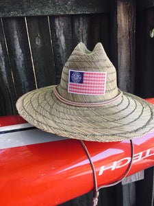 Double Barrel American Flag Lifeguard Hat (Straw)