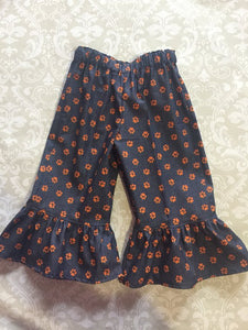 Orange Tiger paw on purple denim ruffle pants