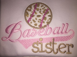 Baseball sister applique raglan