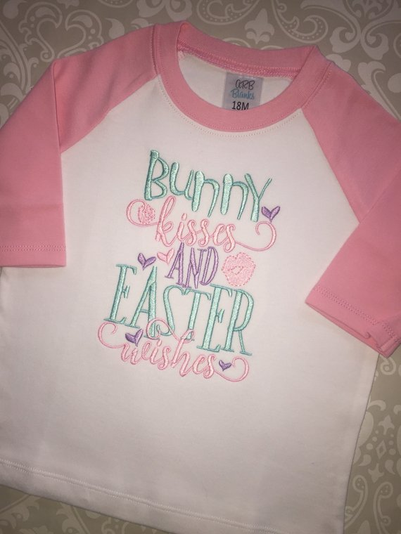 Bunny kisses and Easter wishes embroidered Easter raglan
