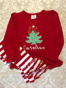 Monogram applique Christmas tree oufit