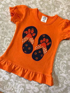 Tiger Paw flip flop applique shorts set