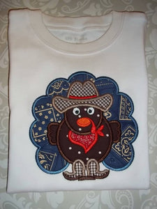 Cowboy Turkey applique boys fall tee