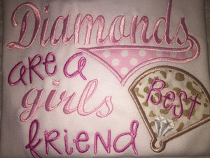 Diamonds are a girl's best friend applique raglan tee