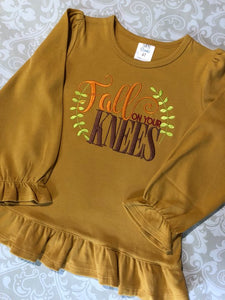 Fall on Your Knees Christian fall outfit or tee