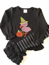 Girl's Flamingo Halloween tee and leggings