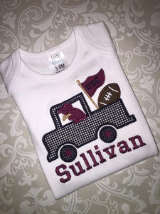 Gamecock applique truck baby bodysuit or tee