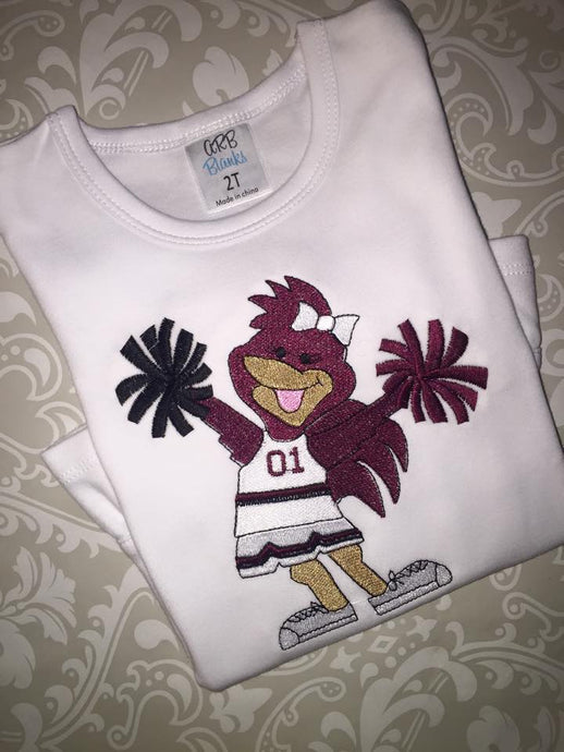 Girls Gamecock cheerleader tee