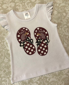 Gamecock flip flop applique shorts set