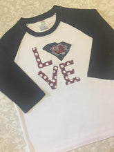 Gamecock Love applique raglan tee