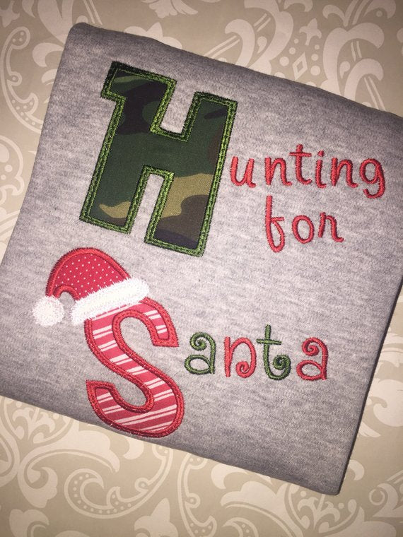 Hunting for Santa camo applique Christmas tee