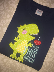 I Love You This Much dino applique boys valentine tee