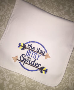 Itsy bitsy spider embroidered burp cloth