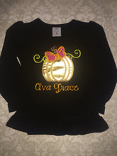Gold Pumpkin applique tee