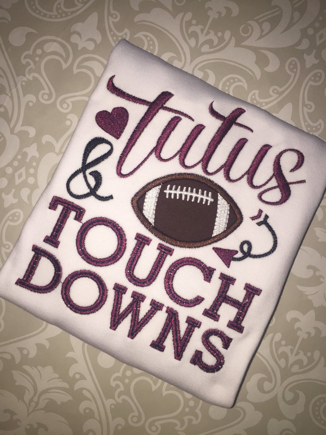 Tutus and touchdowns applique tee