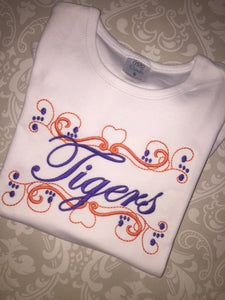 Tigers scroll embroidered ruffle tee
