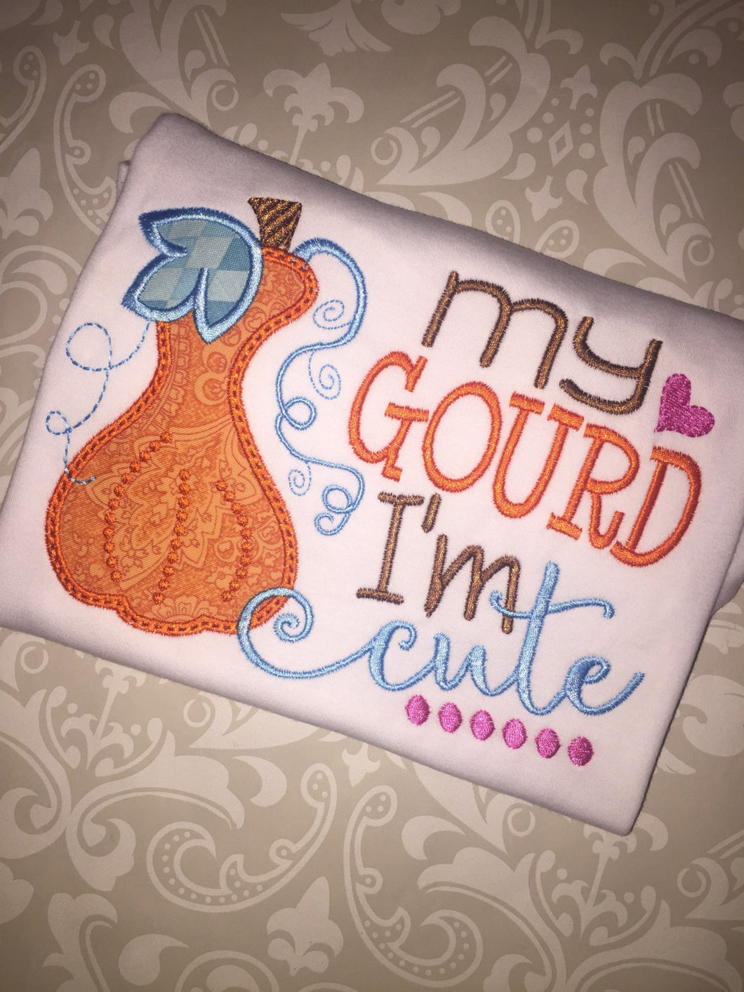 Gourd I'm Cute applique fall outfit or tee